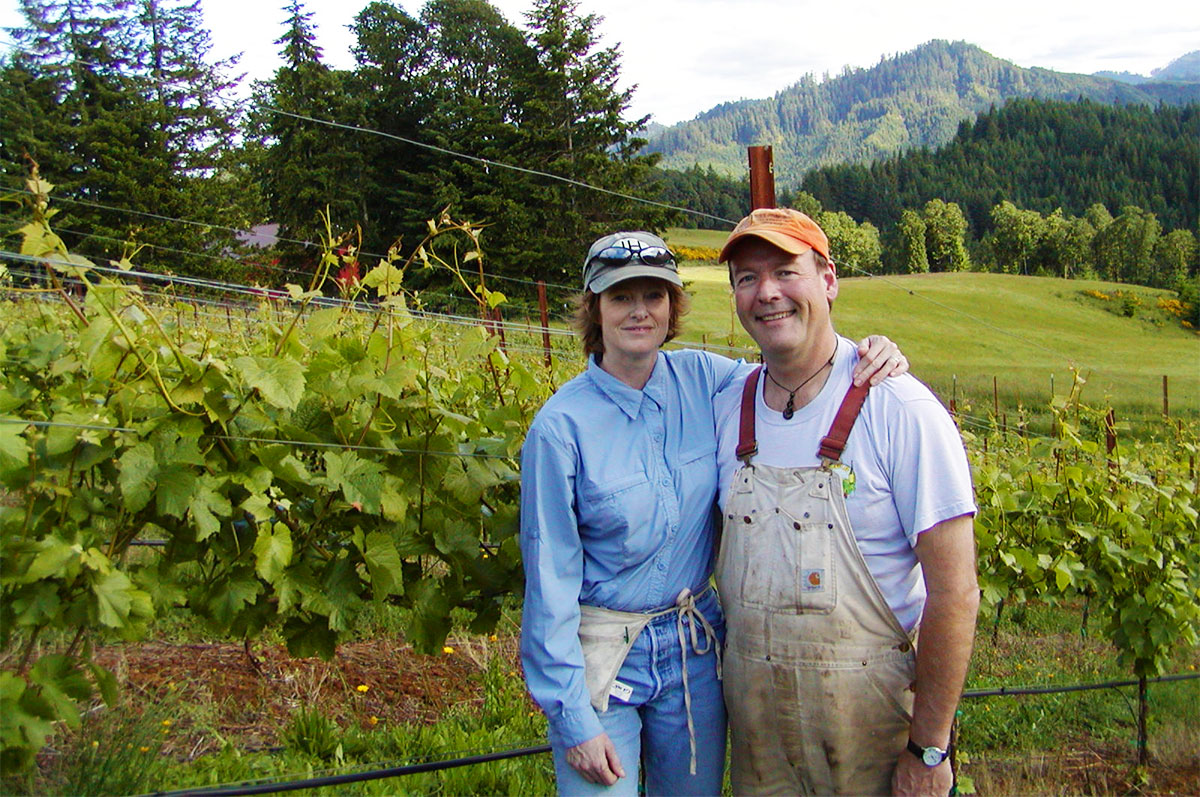 Terry and Sue Brandborg in Vineyard